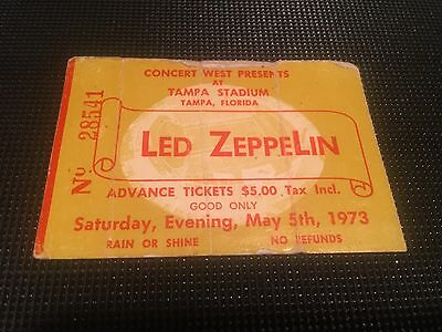 1973 Led Zeppelin Concert Ticket Stub Tampa Stadium Florida With Poster Flyer