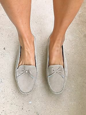 Supersoft By Diana Ferrari Taupe Suede Leather Fionna Loafer Flat Shoes. Size 11