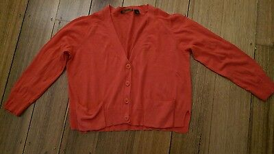 Red country road cotton cardigan size L