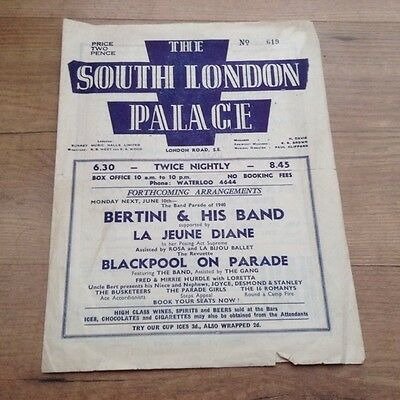 THE SOUTH LONDON PALACE 1940 programme GUS CHEVALIER