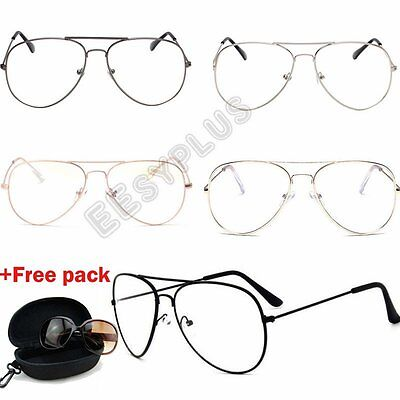 Unisex Big Round Metal Frame Clear Lens Glasses Geek Fashion Vintage Retro Specs