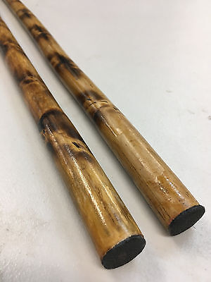Rattan Burned Pair of Sticks  with Black Carrying Case with safety ends