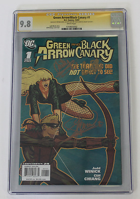 CGC Graded 9.8, Green Arrow and Black Canary No. 1, 2007, Signed Amell Plus 2