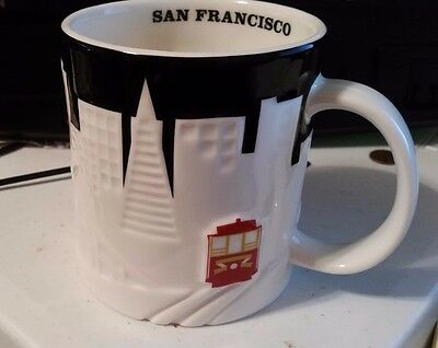 New San Francisco 2012 Relief Mug STARBUCKS Embossed City Cup 16 Oz Red Trolley