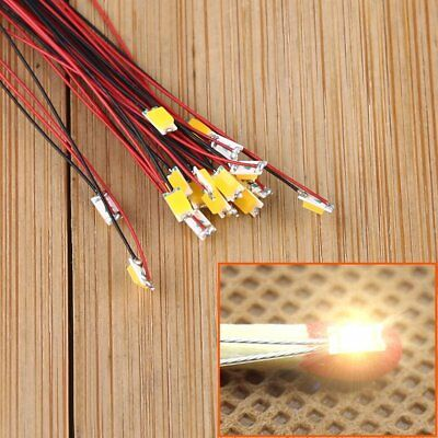 T1206WM 20pcs Pre-soldered micro litz wired leads Warm White SMD Led 1206 NEW