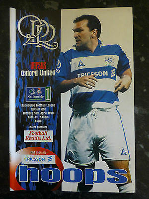 Qpr V Oxford United Tuesday 14Th April 1998 Division One  Football Programme