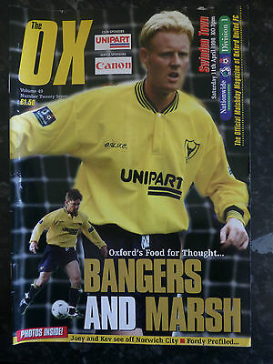 OXFORD UNITED v SWINDON TOWN 11-04-1998 DIVISION ONE FOOTBALL PROGRAMME