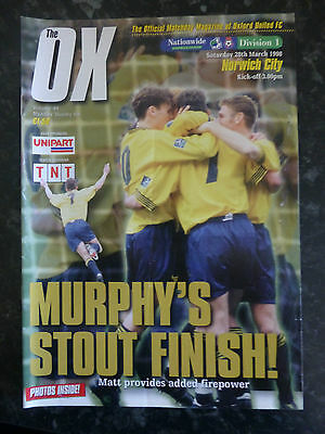 OXFORD UNITED v NORWICH CITY 28-03-1998 DIVISION ONE FOOTBALL PROGRAMME
