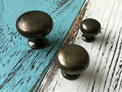 Vintage Look Small Drawer Knob Cabinet Pull Hardware Rustic Dark Antique Bronze