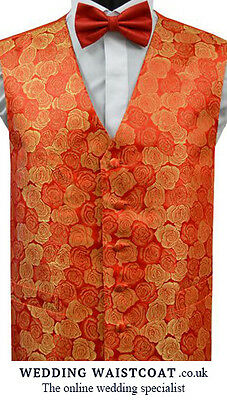 1 NEW RED & GOLD floral ROSE embroidered WAISTCOAT - Med, Large, XL or XXL