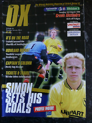 OXFORD UNITED v CREWE ALEXANDRA 03-03-1998 DIVISION ONE FOOTBALL PROGRAMME
