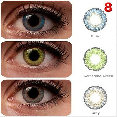 Contact Lenses 3 PAIRS/LOT Blue + Gemstone Green + Gray Cosmetic