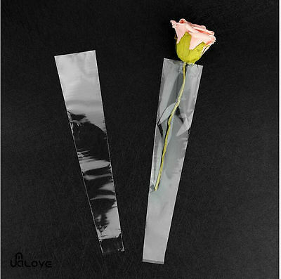 100Pcs Clear Cellophane Single Rose Flower Sleeves Gifts Bags Valentines's Day
