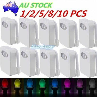 1/10PC 8Color LED Toilet Bathroom Night Light Motion Activated Seat Sensor Lamp#