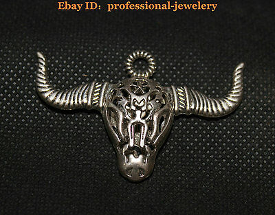 China Old antique Guizhou Miao Silver Handmade Lucky Hollow OX cattle Necklaces
