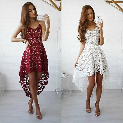 New Women Bodycon Lace Short Sleeve Bridesmaid Evening Party Cocktail Mini Dress