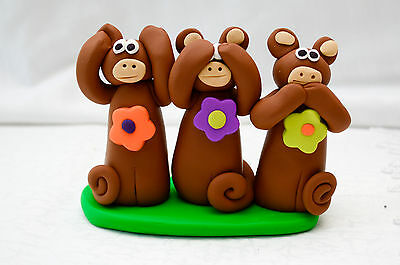 Made-in-the-USA Hear/See/Speak No Evil Monkey Polymer Clay Figurine by Gwen Piña