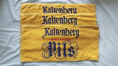 Three unused Kaltenberg bar towels