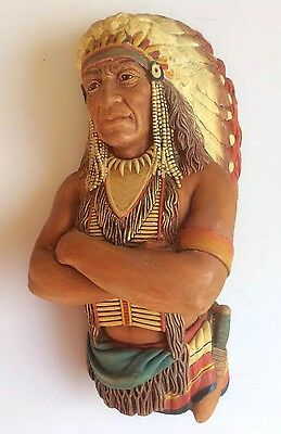 Vintage Bossons England Native American Indian Chief Chalkware Plaque