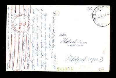 Croatia (Ndh) Wwii - Postcard Zagreb Sent By Military Mail, Okw Censorship Cance