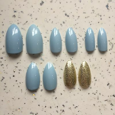 Pastel Blue And Gold Glitter Hand Painted Stiletto False Nails (20 Nails/2 Sets)