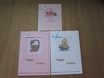 3 colourful handmade cross stitch Easter cards