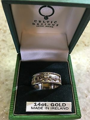 FNM~CLADDAGH RING~14K WHITE GOLD~IRELAND~Hallmarked~Wedding Band~Size 7