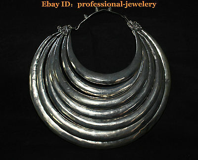 China Old antique Guizhou Miao Silver Handmade Miao mores 7 Ring Silver Necklace