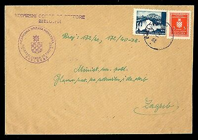 Croatia (Ndh) Wwii - Official Cover Sent From Bjelovar To Zagreb 1943. Franked W