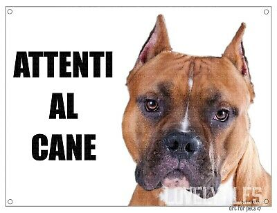 AMSTAFF attenti al cane mod 1 TARGA cartello IN METALLO