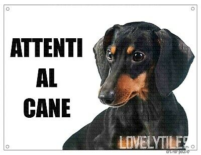 BASSOTTO attenti al cane mod 2 TARGA cartello IN METALLO
