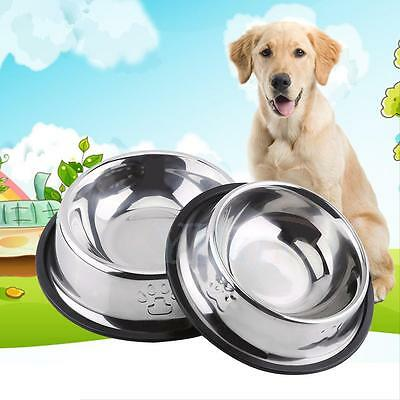 Stainless Steel Pet Dog Cat Puppy Feeder Food Water Bowl Travel Feeding Dish BT