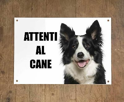 BORDER COLLIE attenti al cane mod 2 TARGA cartello IN METALLO