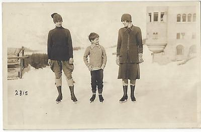 Winter Sport Pontresina Switzerland - Ladies & Child On The Ice Rink  1926 Pc