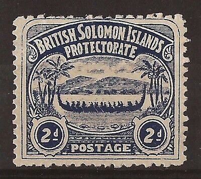 Solomon Islands 1907 large canoe 2d indigo mint SG 3