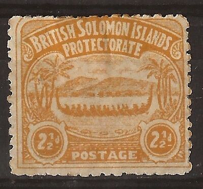 Solomon Islands 1907 large canoe 2 1/2 d orange-yellow mint SG 4