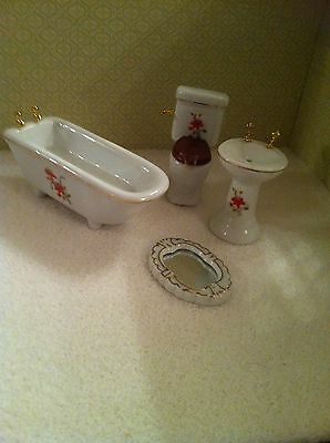 Dolls House 1:12th Scale 4 Piece White Ceramic Bathroom Suite