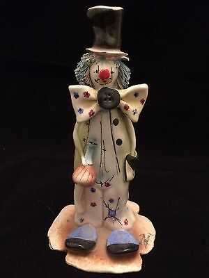 Tall Italian Signed Zampiva Clown Ornament with Drinking Flask And Top Hat