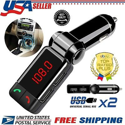 Bluetooth FM Transmitter Wireless MP3 Player Car Kit Charger Dual USB For Mobile