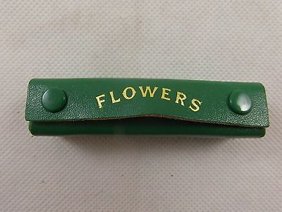 VINTAGE 5 'FLOWERS' POKER DICE in Green LEATHER CASE & rules EXCELLENT CONDITION