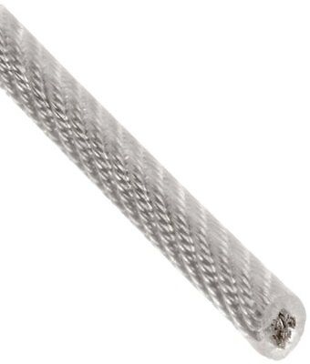 "Galvanized Steel Wire Rope on Reel, Vinyl Coated, 7x19 Strand Core, 3/16"" Bare O"