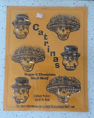 Catrinas Day of the Dead Detailed Sugar Skull Chocolate Mold Candy Soap Crafts
