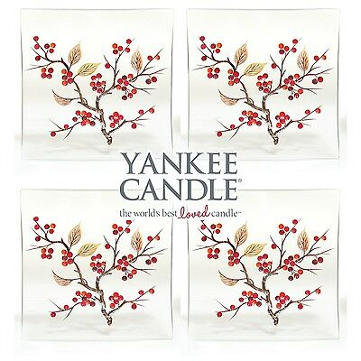 4 Yankee Candle Red Berries Candle Glass Plate Tray Votive Tea Light Holder Gift