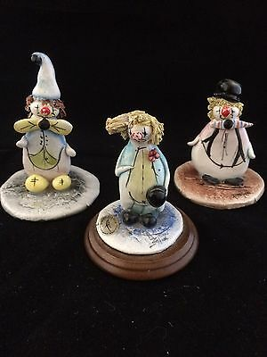 Group of Three Signed Zampiva Clown Figurines Ornaments, Made In Italy