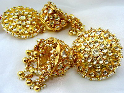 Ethnic Traditional Kundan Stone Pearl Jhumka Party Ethnic Gold Plated Earrings