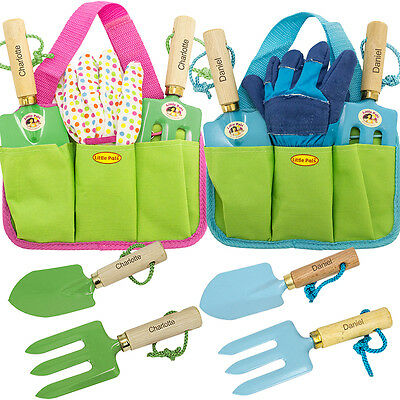 Childrens Personalised Garden Tools Tool Kit + Carrying Pouch Gloves Trowel Fork