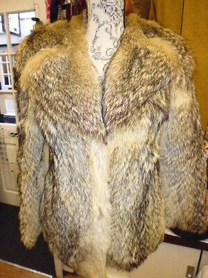 Vintage 80's Real Coyote  Wolf Fur Coat Size Small Coat