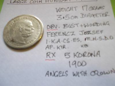 Good Grade Large White Metal 5 Korona Coin From Hungary  Dated 1900  [#d594]