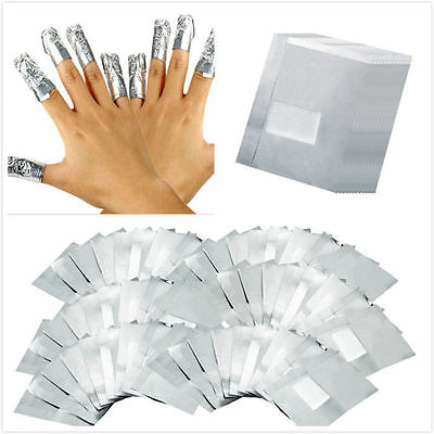 100 Aluminium Foil Wraps Nail Art Soak Off Acrylic Beauty Varnish Remover pads