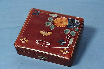 Vintage Handpainted Japanese Wooden Jewelry Box